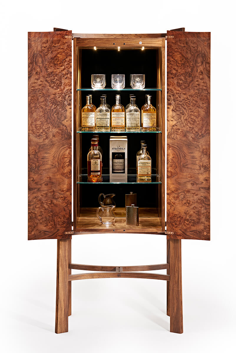 Bespoke Whisky Cabinet In Dark Walnut To Display Drinks